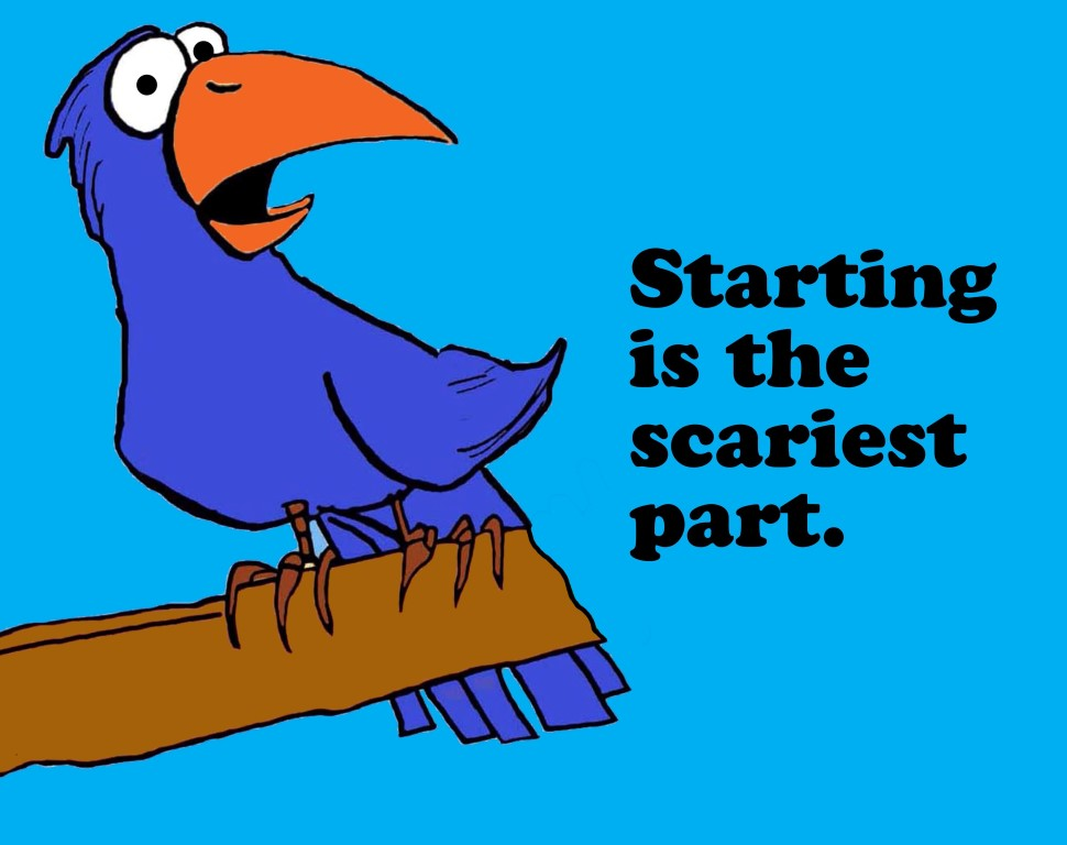 Business cartoon about challenges, 'starting is the scariest part'.